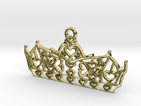 Queen of Hearts crown tiara charm or pendant 2mm t in 18K Gold Plated