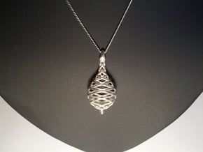 Raindrop in Motion Pendant 3 in Polished Silver