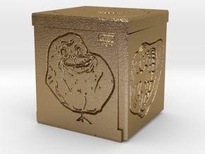 Meme Cube in Polished Gold Steel