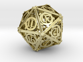 Steampunk D20 in 18K Gold Plated