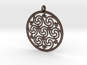 Celtic Seven Spiral Pendant in Polished Bronze Steel