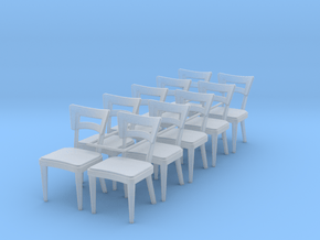 1:48 Dog Bone Chairs (Set of 10) in Smooth Fine Detail Plastic