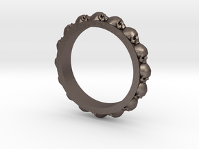 Skull Eternity Style Size 7 in Polished Bronzed Silver Steel