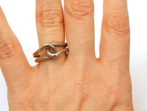 Rubber Band Ring in Polished Bronzed Silver Steel