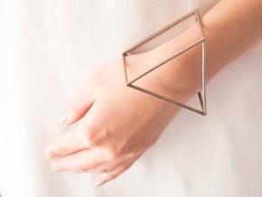 Triangle Bracelet - Medium in Polished Bronzed Silver Steel