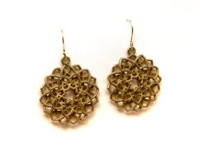 Mandala Flower Earrings in Polished Bronzed Silver Steel
