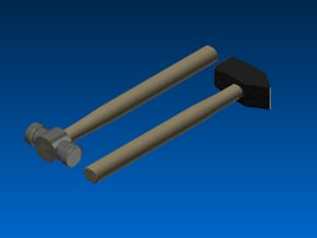 Forging hammers 1:12 scale / Smeedhamers schaal 1: in White Natural Versatile Plastic