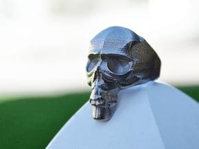 Skull Ring size 14 in White Natural Versatile Plastic