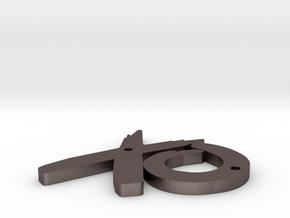 Xo in Polished Bronzed Silver Steel