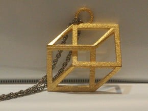 Impossible Cube Necklace in Polished Gold Steel