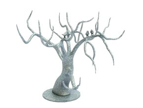 Jewellery Tree With Birds in White Processed Versatile Plastic