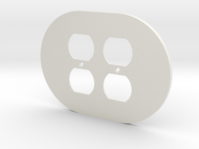 plodes® 2 Gang Duplex Outlet Wall Plate in White Natural Versatile Plastic