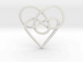 Infinity Heart Knot Pendant in White Natural Versatile Plastic