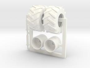 1/64 750-50-30.5 Tread Tire w/ Rim in White Processed Versatile Plastic