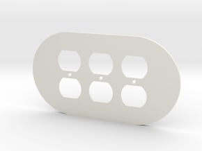 plodes® 3 Gang Duplex Outlet Wall Plate in White Natural Versatile Plastic