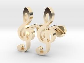 Treble Clef Cufflinks in 14k Gold Plated Brass