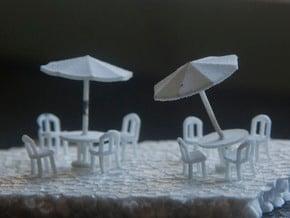 Sidewalk Cafe Set x4, HO Scale (1:87) in White Natural Versatile Plastic