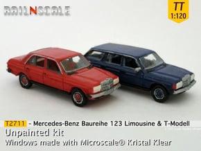 SET 2x Mercedes-Benz W123 (TT 1:120) in Smooth Fine Detail Plastic