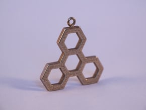 Hexatri pendant/keychain in Polished Bronzed Silver Steel