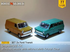 SET 2x Ford Transit (TT 1:120) in Smooth Fine Detail Plastic