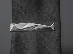Origami Tie Clip in Fine Detail Polished Silver