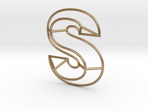 S Typolygon in Polished Gold Steel