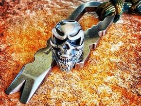 Skull Bead - Bandit in Natural Silver