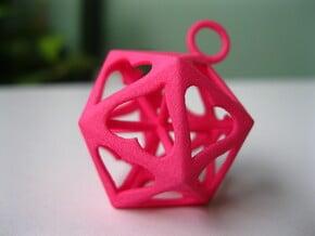 Icosahedron Love pendant in Pink Processed Versatile Plastic