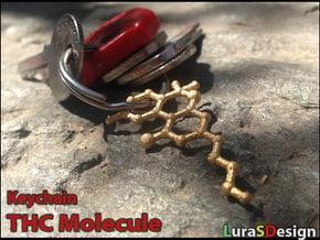 THC Molecule Keychain in Polished Bronzed Silver Steel