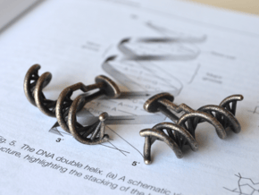 DNA Cufflink in Polished and Bronzed Black Steel