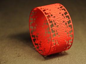 Rectilinear parquet deformation band in Red Processed Versatile Plastic