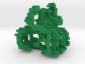 Little and Cubed Ornament in Green Processed Versatile Plastic