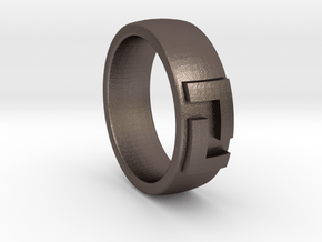 League Ring Size 6 in Polished Bronzed Silver Steel
