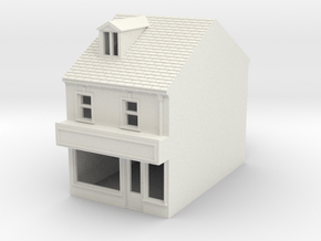 HHS-5 N Scale Honiton High street building 1:148 in White Natural Versatile Plastic