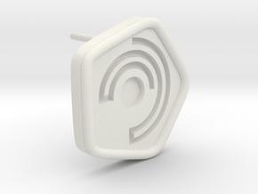 New Harmony Earrings   Round Borders in White Natural Versatile Plastic