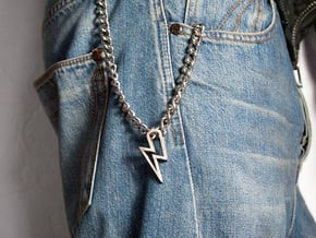 Lightning Pendant in Polished Bronzed Silver Steel