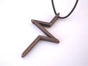''Pulse'' Modern Cross in Polished Bronze Steel