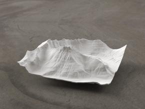 4'' Mt. Wilbur Terrain Model, Montana, USA in White Natural Versatile Plastic