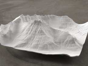 6'' Mt. Wilbur Terrain Model, Montana, USA in White Natural Versatile Plastic