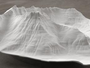 8'' Mt. Wilbur Terrain Model, Montana, USA in White Natural Versatile Plastic