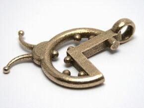 La Coccinella - Logo 3D portachiavi in Polished Bronzed Silver Steel