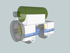FlexChassis: 2,3 of 4 axles.   H0e / 009 / N in Smooth Fine Detail Plastic