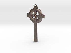 Celtic Cross 010 in Polished Bronzed Silver Steel