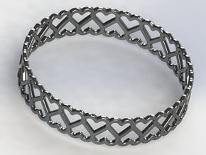 The Bracelet of Hearts in Polished Silver