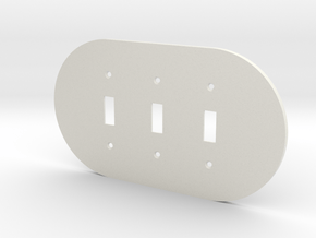 plodes® 3 Gang Toggle Switch Wall Plate in White Natural Versatile Plastic