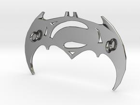 Batman V Superman Pendant in Fine Detail Polished Silver