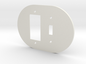 plodes® 2 Gang 1 Toggle Combo Wall Plate in White Natural Versatile Plastic