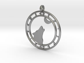 Wolf head with ring of runes in Natural Silver