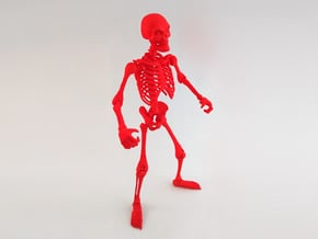 Articulated Skeleton Large  in Red Processed Versatile Plastic
