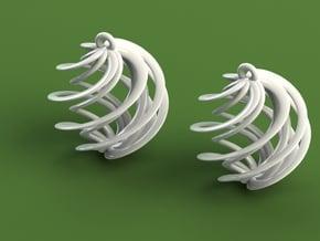 Swirly Earrings in White Natural Versatile Plastic
